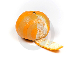 Orange With One Slice Peel Stock Photos - Image: 8455923