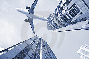 Airplane On The Top Of Modern Building. Stock Photo - Image: 8457780