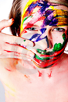 Making A Mess Of Myself With Wet Paint. Stock Images - Image: 8458074
