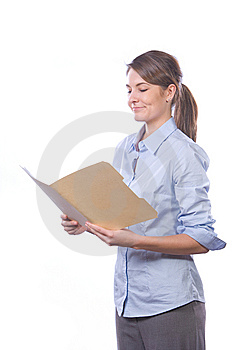 Business Woman Reading Documents Isolated On White Royalty Free Stock Photography - Image: 8458417