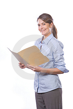 Business Woman Reading Documents In Modern Office Royalty Free Stock Photography - Image: 8458457