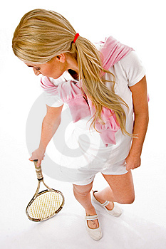 Young Woman Standing With Tennis Racket Royalty Free Stock Photos - Image: 8460028