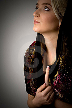 Side View Of Young Woman With Stole Looking Up Stock Photo - Image: 8460190