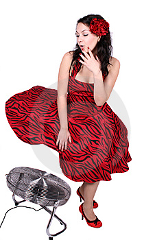 Pin-up Girl Standing Near A Ventilator Stock Image - Image: 8461331