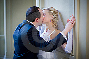 Newlyweds Kissing Stock Image - Image: 8461751
