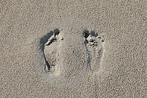 Two Footprints In The Sand  Stock Photo - Image: 8467140