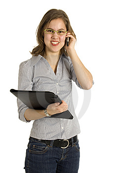 Businesswoman Talking Into A Mobile Phone Stock Photography - Image: 8468232