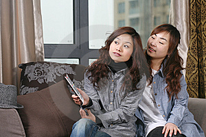 Two Young Girl Watch TV Stock Photography - Image: 8468682