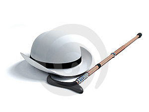 White derby hat and walking stick Stock Image