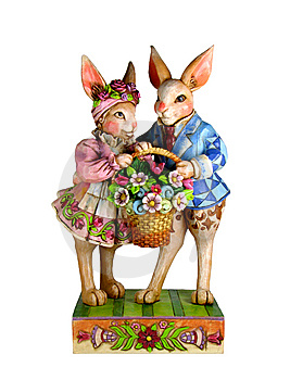 Two Rabbits With A Basket Royalty Free Stock Image - Image: 8471086