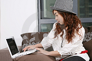 Young Beautiful Girl Use Pc Stock Photos - Image: 8471683