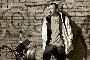 Man With A Motorcycle Stock Photo - Image: 8472200