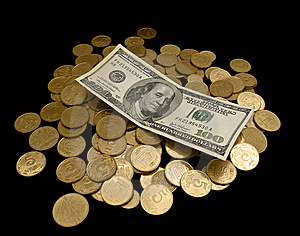 100 Dollars  And A Lot Of Golden Coins Stock Image - Image: 8475551