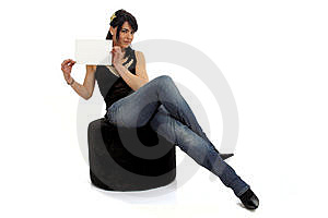 Woman Holding Blank Sign Royalty Free Stock Image - Image: 8479166