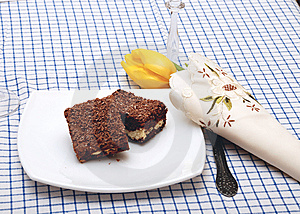 Chocolate Cake On Plate Royalty Free Stock Images - Image: 8480159
