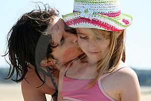 Mother Kissing Her Daughter Royalty Free Stock Image - Image: 8480596