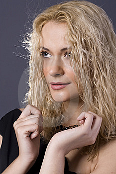 Blond Black Necklace Holding Hair Royalty Free Stock Photo - Image: 8480955
