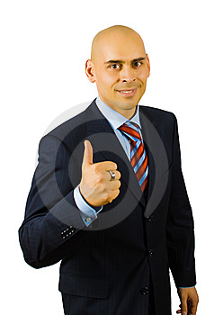 Businessman Show Thumb Up Sing Royalty Free Stock Image - Image: 8481566