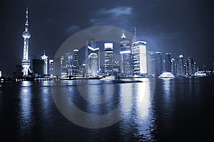 Night View Of Shanghai Stock Photo - Image: 8481780