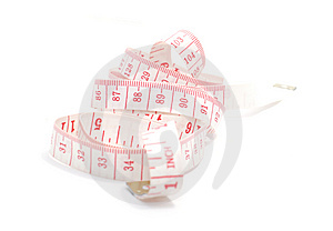 Rolled Red And White Measuring Tape Stock Photography - Image: 8482632