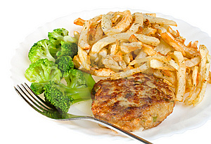 Cutlet With Broccoli And Potatoes Stock Photos - Image: 8484333