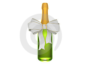 Champagne Or Wine Bottle With Bow Royalty Free Stock Images - Image: 8484899