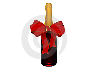 Champagne Or Wine Bottle With Bow Stock Images - Image: 8484904