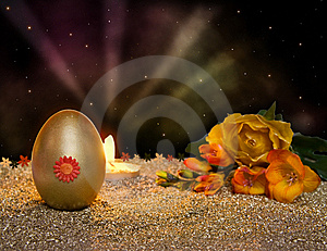 Easter Resurrection Candle With Golden Egg Stock Photos - Image: 8485763