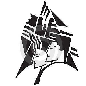 Icon Graphic Of Couple Stock Photos - Image: 8486853