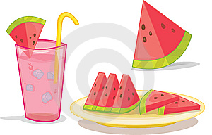 Watermelon And Drink Royalty Free Stock Image - Image: 8487706