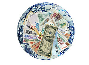 Currencies From Around The World, Paper Banknotes. Royalty Free Stock Photography - Image: 8487987