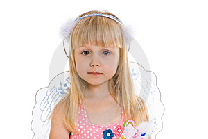 Girl In Pink Dress And With Angel Wings Stock Photo - Image: 8489150
