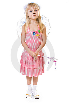 Girl In Pink Dress Holds The Magic Wand Royalty Free Stock Photos - Image: 8489178