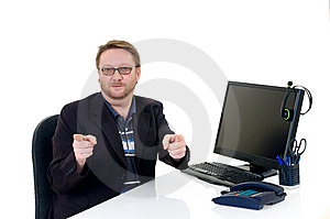 Businessman On Desk Stock Photography - Image: 8489572