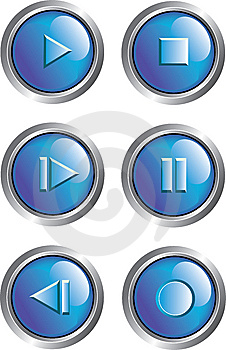 Blue Player Buttons Stock Photography - Image: 8489872