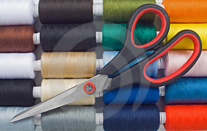 Sewing Spools And Scissors Stock Photos - Image: 8490543