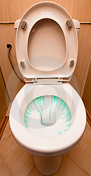 Lavatory Pan With Cleaner In It Stock Image - Image: 8490751