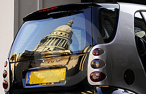 Car With Building Reflection Stock Photography - Image: 8491582