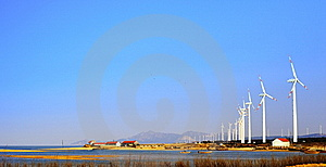 Seashore Wind-driven Generator Royalty Free Stock Image - Image: 8491666