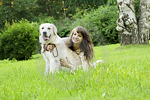Girl With The Golden Retriever In The Park Royalty Free Stock Image - Image: 8492116