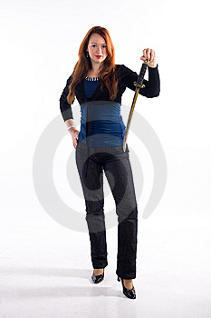 Young Girl And Japan Sword Stock Photography - Image: 8493132