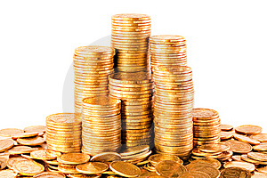 Isolated Golden Coins Stock Photo - Image: 8493900
