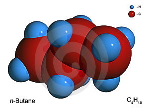 Isolated 3D Model Of A Molecule Of Butane Royalty Free Stock Images - Image: 8495449