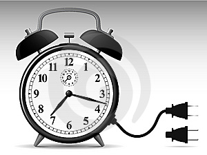 Classic Alarmclock With Connector Plug Royalty Free Stock Photography - Image: 8495497