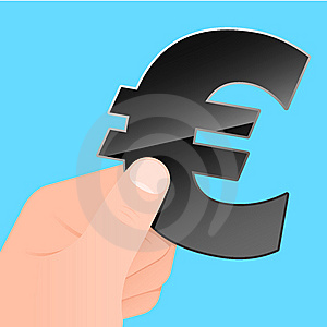 Hand With Euro Symbol Stock Photography - Image: 8495602