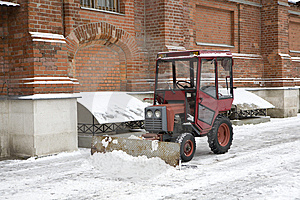 Snowplow Is Ready To Prepare To Clean The Road. Stock Photo - Image: 8496870