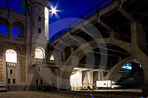 Illuminated Bridge Arches (Warsaw/Poland) Royalty Free Stock Photo - Image: 8496935
