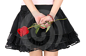 Girl's Back And Rose Royalty Free Stock Photos - Image: 8498318