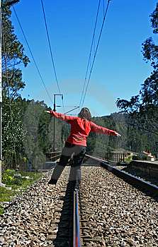 Walking In The Railway Royalty Free Stock Photos - Image: 8500198
