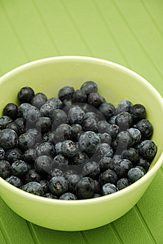 Blueberries In Green Bowl Over Green Royalty Free Stock Photography - Image: 8500547